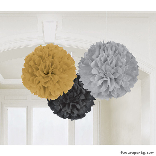 Puff Balls Gold, Silver & Black (3pcs)