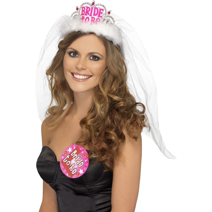 Bride To Be Tiara with Veil White