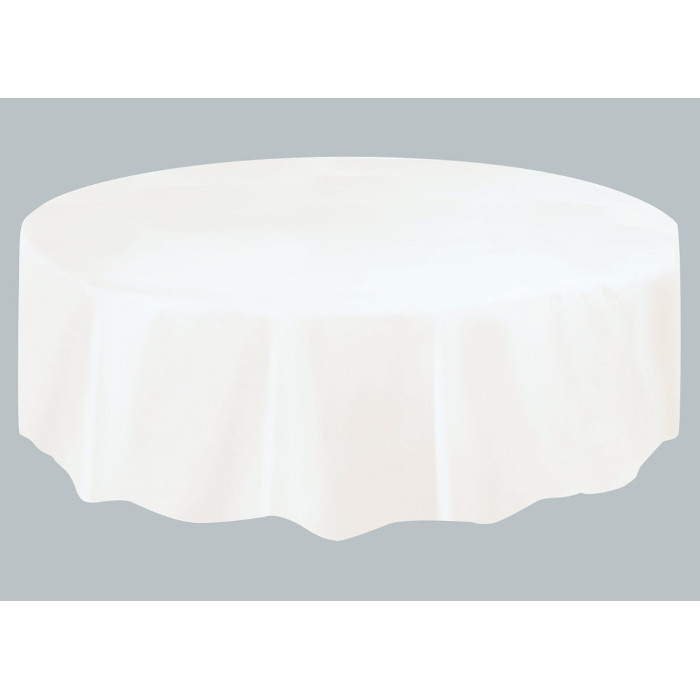 White Plastic Tablecover Round 213cm