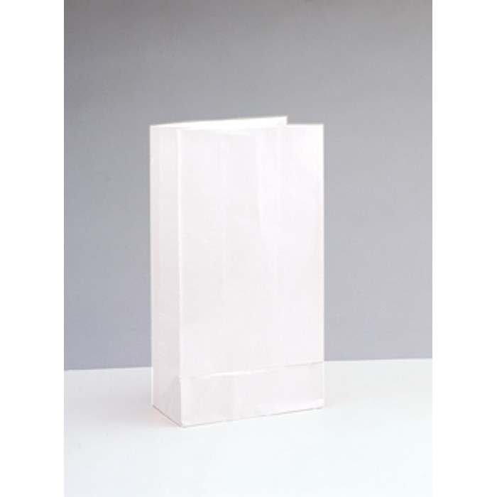 12 Paper Party Bags White