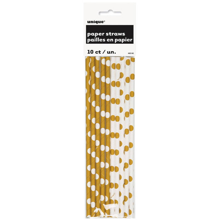10 Paper Straws Gold Dots