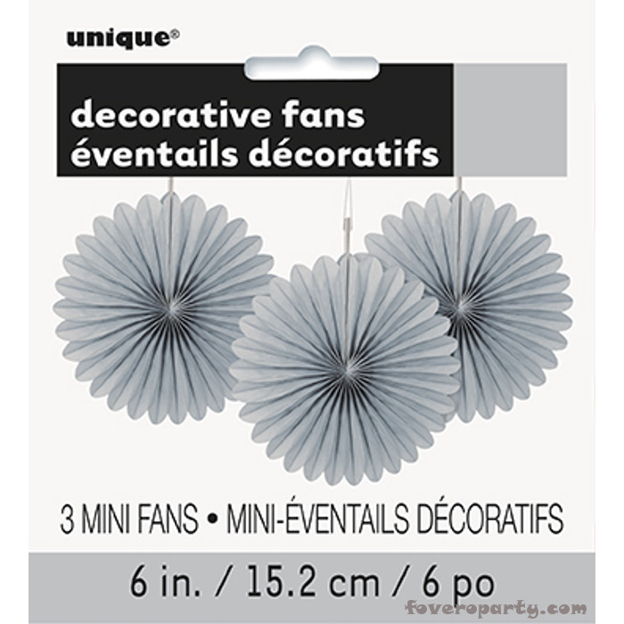 3 Decorative Fan Silver 15 cm