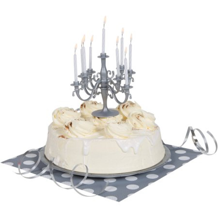 Candelabra Silver & 9 Candles White
